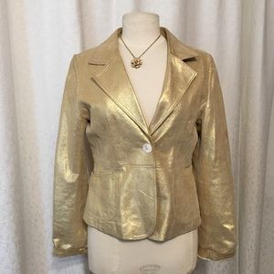 Jackets & Blazers - Pale Gold distressed leather jacket. Worn once.